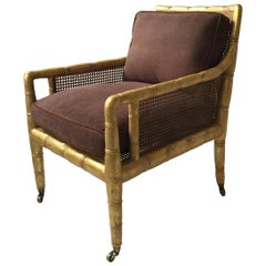 Gilt Faux Bamboo Lounge Chair