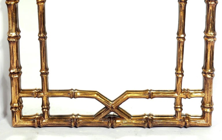 Hollywood Regency Gilt Faux Bamboo Mirrors, circa 1950s For Sale