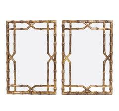 Gilt Faux Bamboo Mirrors, circa 1950s