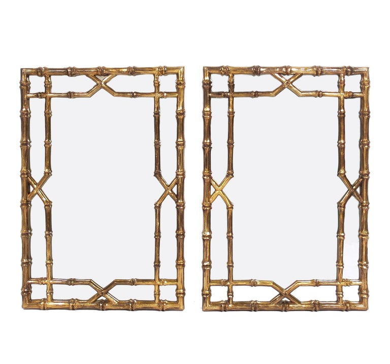 Gilt Faux Bamboo Mirrors, circa 1950s For Sale