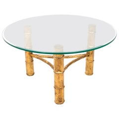 Gilt Faux Bamboo Round Coffee Table