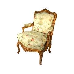Gilt Framed Louis XV Style Bergere Chair