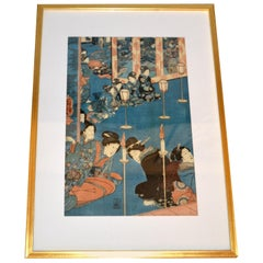 Gilt Framed Utagawa Kuniyoshi Japanese Original Woodcut Print on Paper, 1845