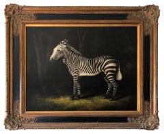 Gilt Framed Zebra Oil Painting 'After George Stubbs' Signed Steve Rogers