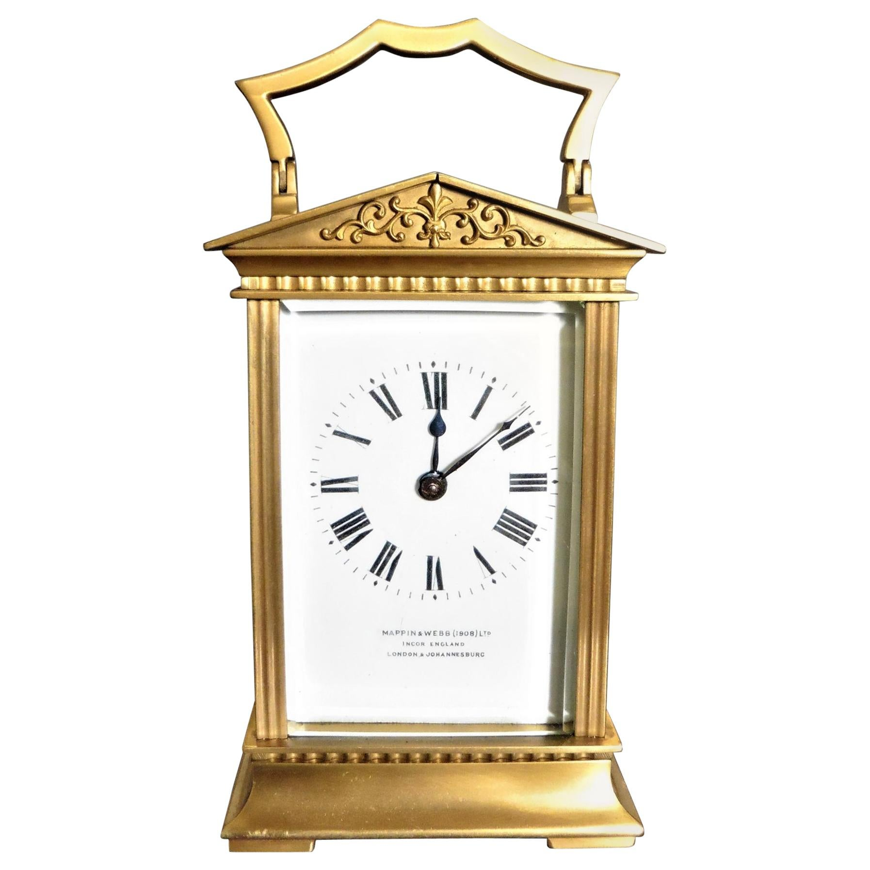 Gilt French Carriage Clock Signed 'Mappin & Webb'