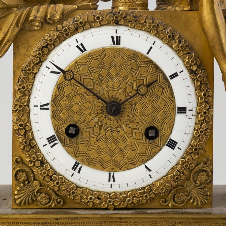 Brass Gilt French Empire Table Clock, Early 1800s For Sale