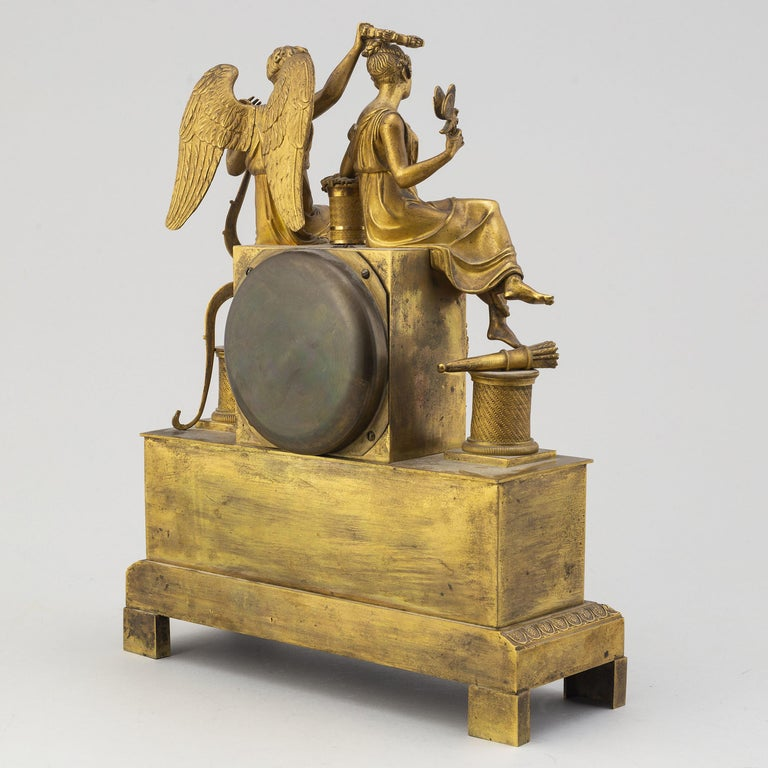 Gilt French Empire Table Clock, Early 1800s For Sale 1