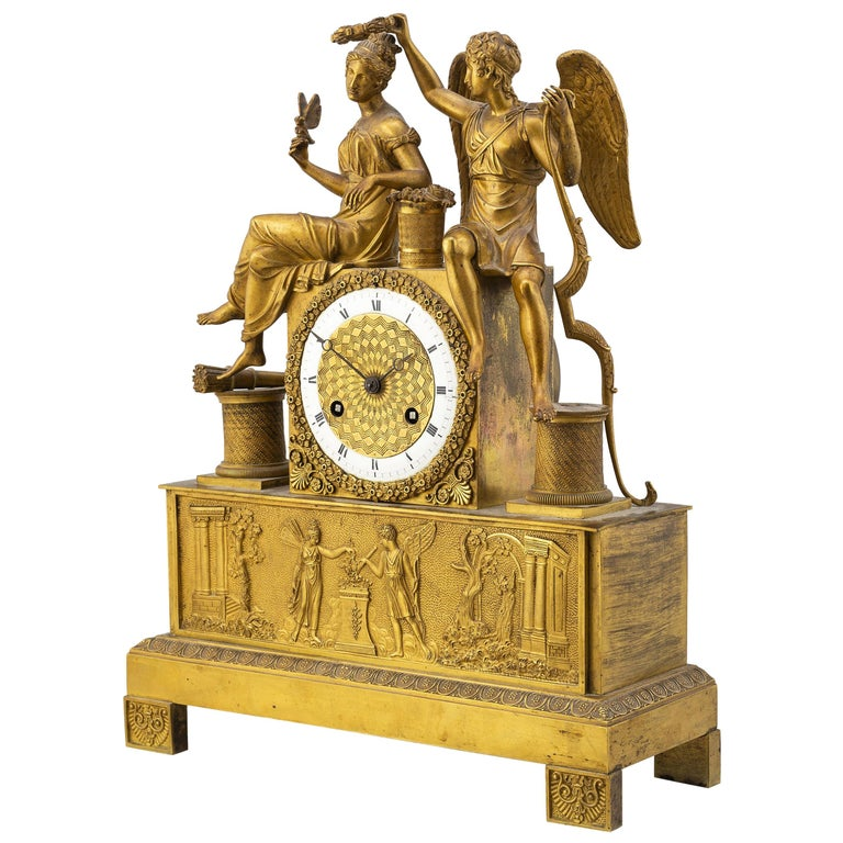Gilt French Empire Table Clock, Early 1800s For Sale