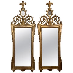 Gilt Gesso and Wood Wall, Console or Pier Mirrors with Etched Figures, a Pair