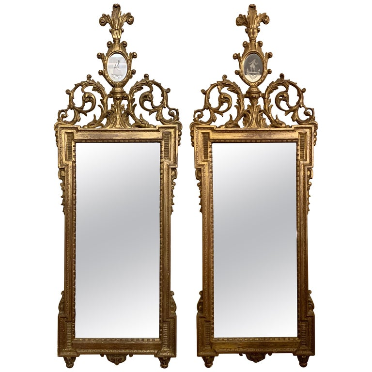 Gilt Gesso and Wood Wall, Console or Pier Mirrors with Etched Figures, a Pair For Sale