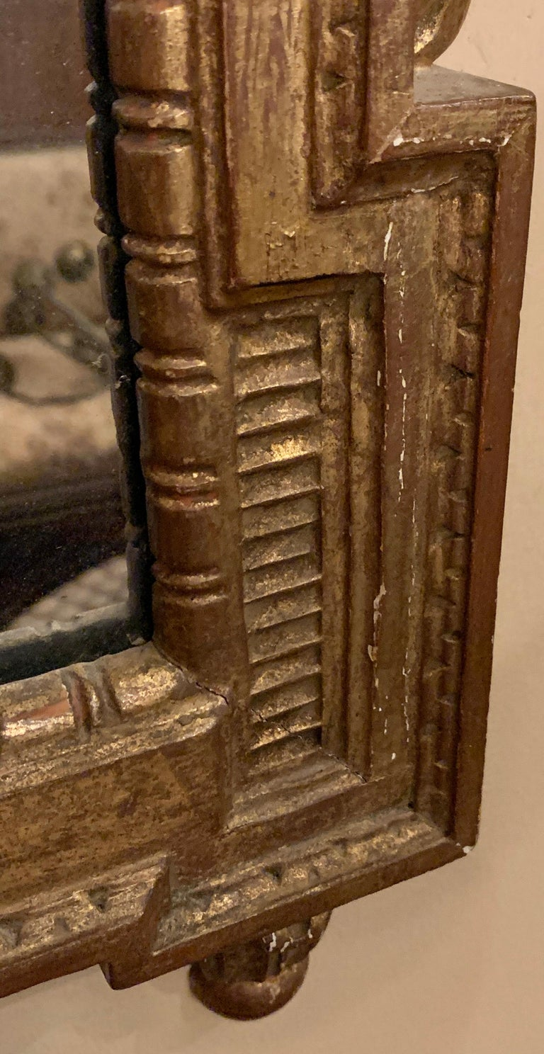 Gilt Gesso and Wood Wall, Console or Pier Mirrors with Etched Figures, a Pair For Sale 8