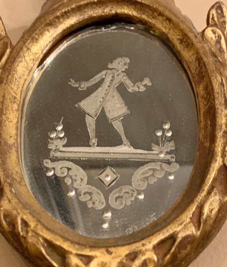 Gilt Gesso and Wood Wall, Console or Pier Mirrors with Etched Figures, a Pair For Sale 10