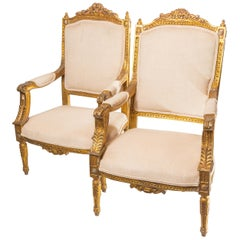 Gilt Gold Beige Chairs