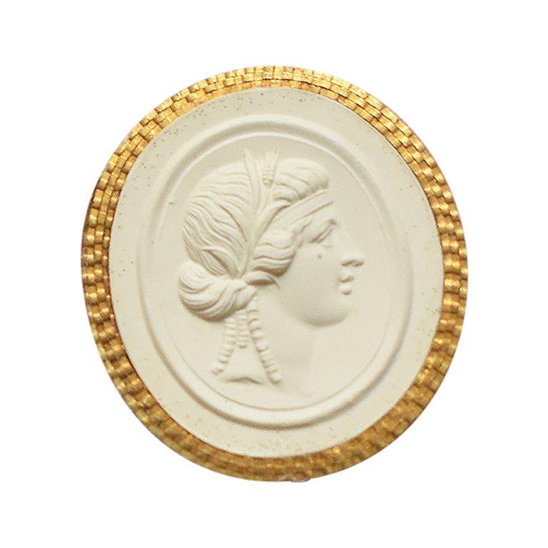 Gilt Grand Tour Plaster Intaglio Tassie Seal with Proserpina Bust, 19th Century