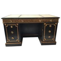 Gilt Greek Key Desk with Leather Top