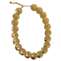 Gilt Hammered Disc Statement Necklace by Napier, Signed, circa 1980