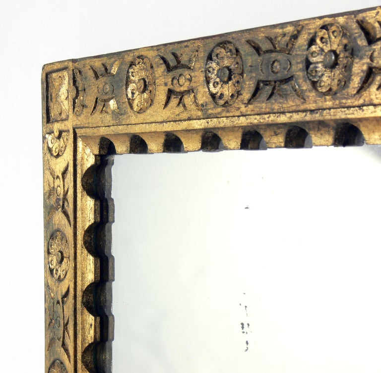 Gilt Hand Carved Spanish or Italian Mirror In Distressed Condition For Sale In Atlanta, GA