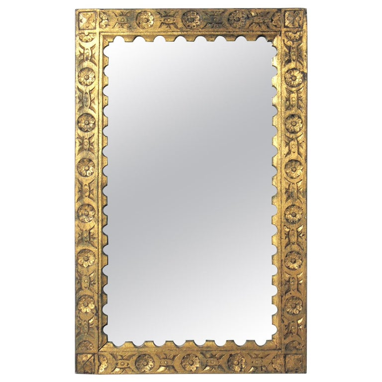 Gilt Hand Carved Spanish or Italian Mirror For Sale