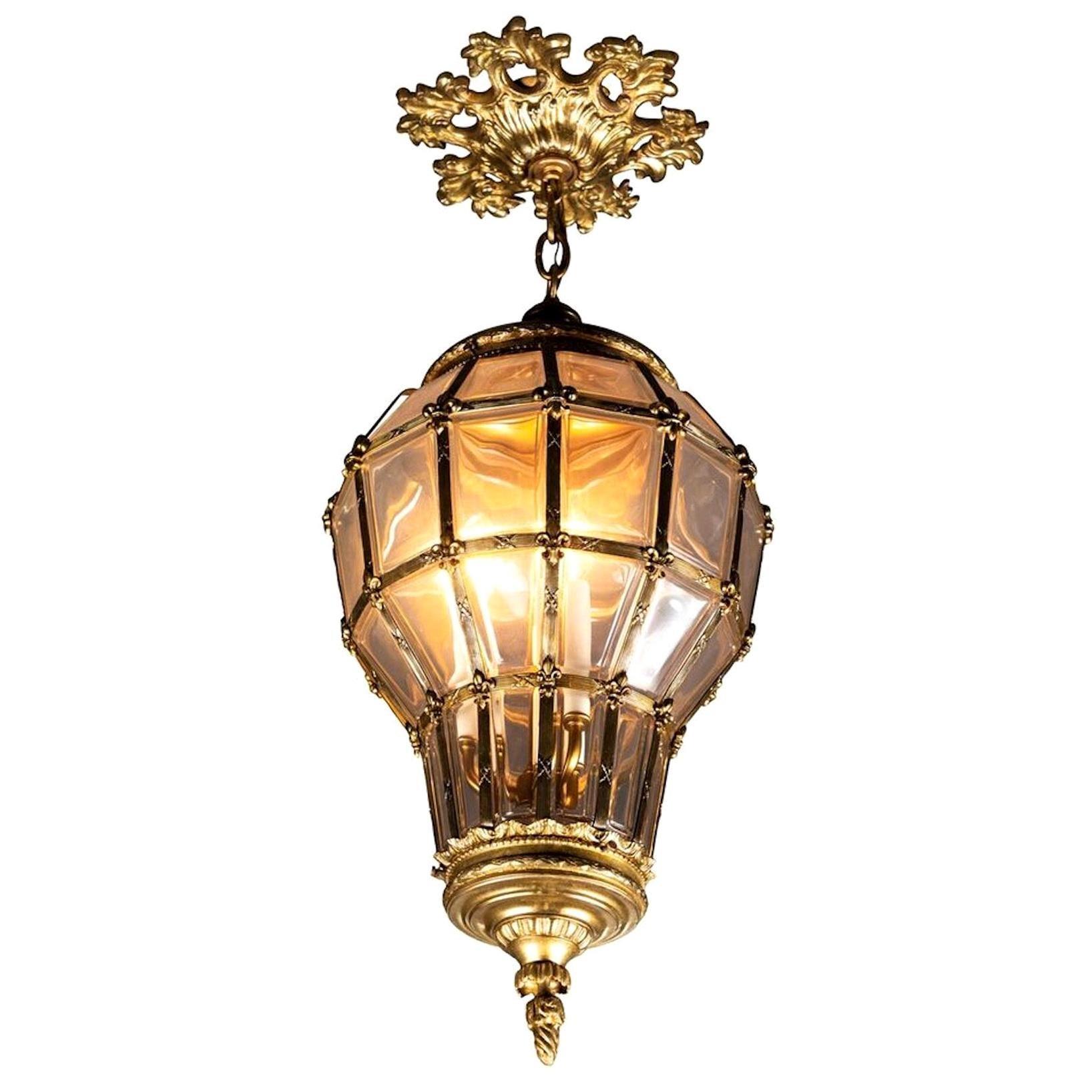 Gilt Hanging Lantern with Ceiling Escutcheon