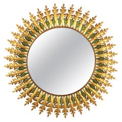 Gilt Iron and Green Sunburst Mirror in the Hollywood Regency Style, Spain, 1960s