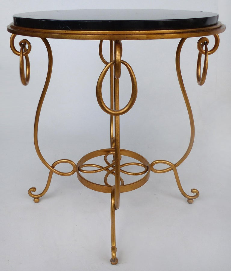 Gilt Iron and Marble Occasional Table In Good Condition For Sale In Miami, FL
