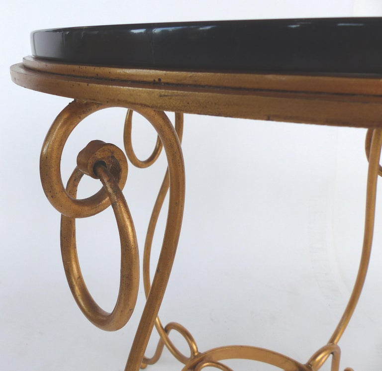 20th Century Gilt Iron and Marble Occasional Table For Sale
