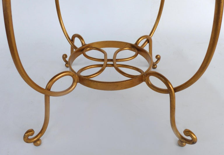 Wrought Iron Gilt Iron and Marble Occasional Table For Sale