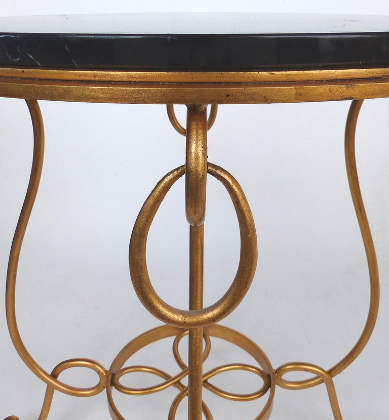 Gilt Iron and Marble Occasional Table For Sale 1