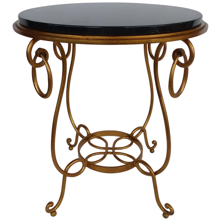 Gilt Iron and Marble Occasional Table For Sale