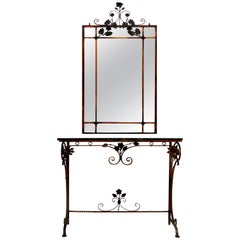 Italian Art Deco Gilt Iron, Polychromed Marble Top Console with Matching Mirror