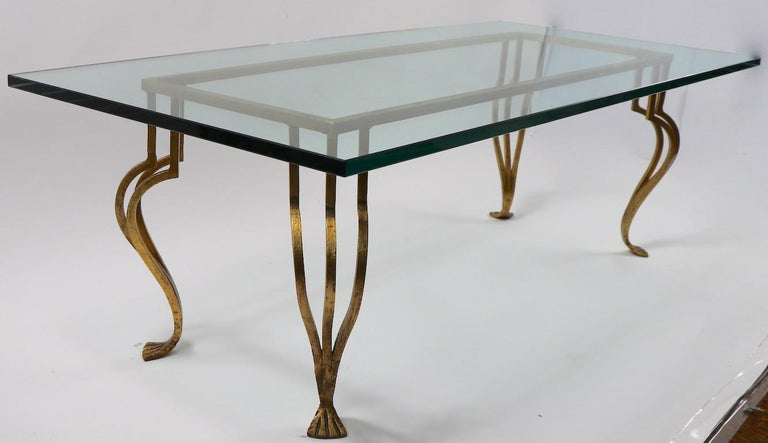 Hollywood Regency Gilt Iron Base Coffee Table with Plate Glass Top For Sale