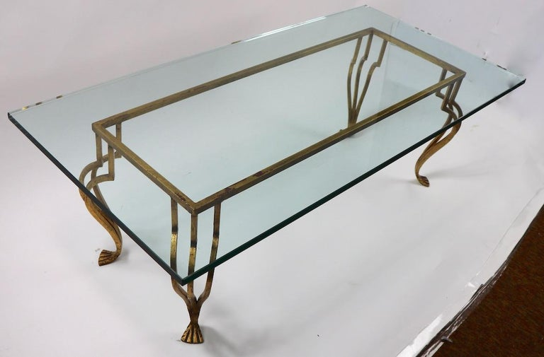 French Gilt Iron Base Coffee Table with Plate Glass Top For Sale