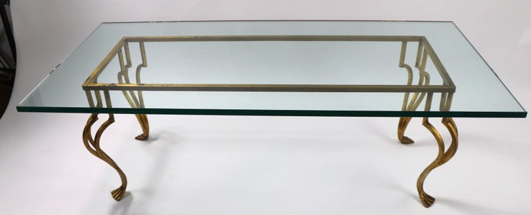 Mid-20th Century Gilt Iron Base Coffee Table with Plate Glass Top For Sale