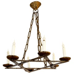 Gilt Iron Belgian Chandelier