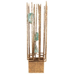 Gilt Iron Brutalist Lamp with Aquamarine Glass Details