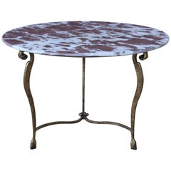 Gilt Iron Cocktail Table with Red Marble Top, France, 1950s