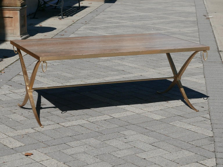 Gorgeous vintage Barbara Barry for Baker coffee table in gilt iron. Perfect scale and incredibly well made.