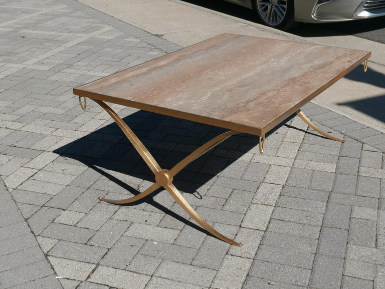 Art Deco Gilt Iron Coffee Table by Barbara Barry For Sale
