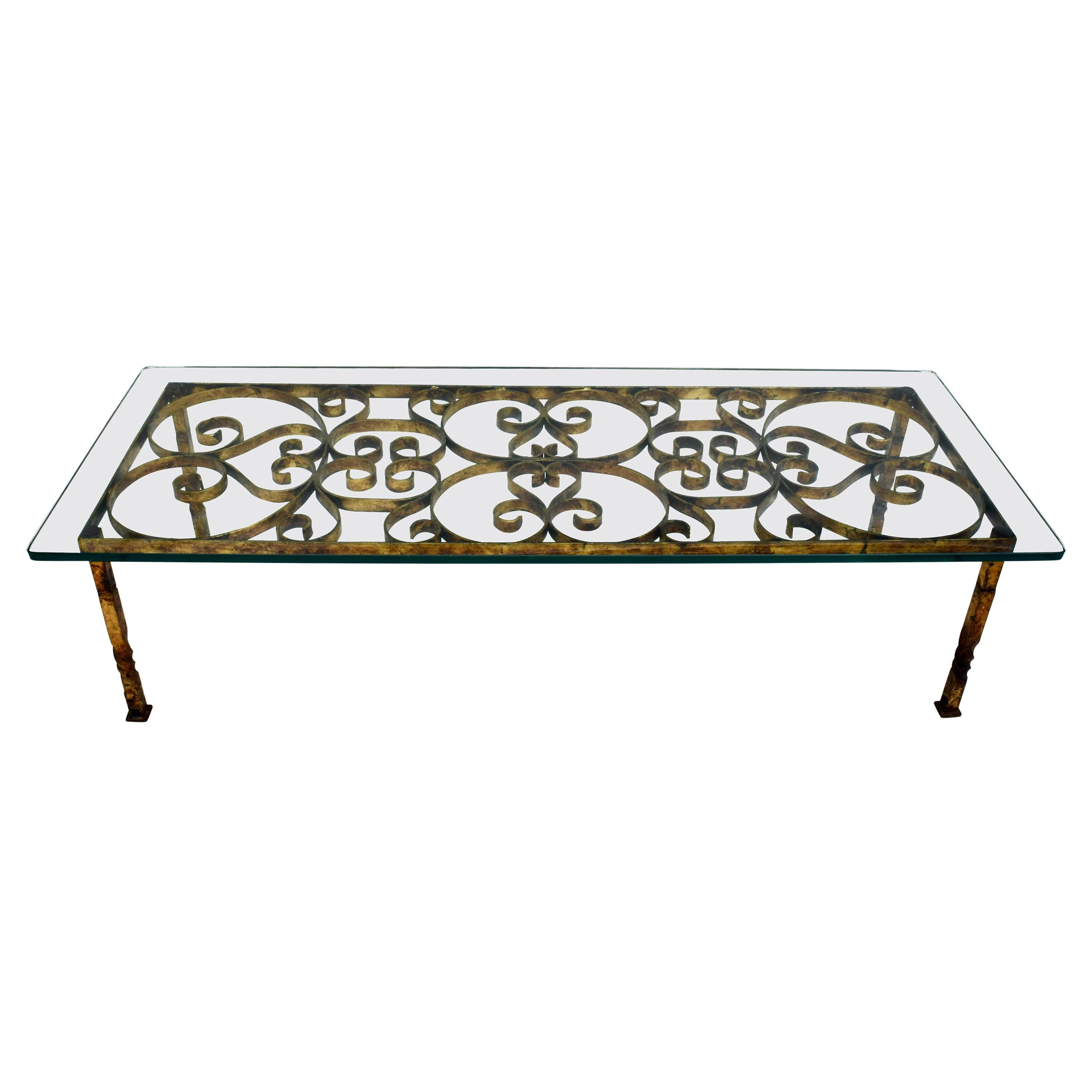 Gilt Iron Coffee Table in the Manner of Gilbert Poillerat
