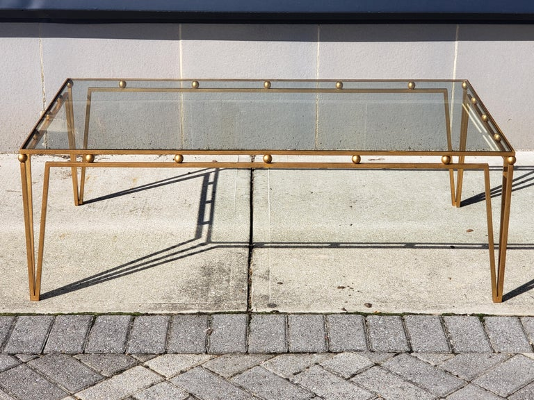 Gilt Iron Coffee Table Manner of Marc du Plantier In Good Condition For Sale In Kilmarnock, VA