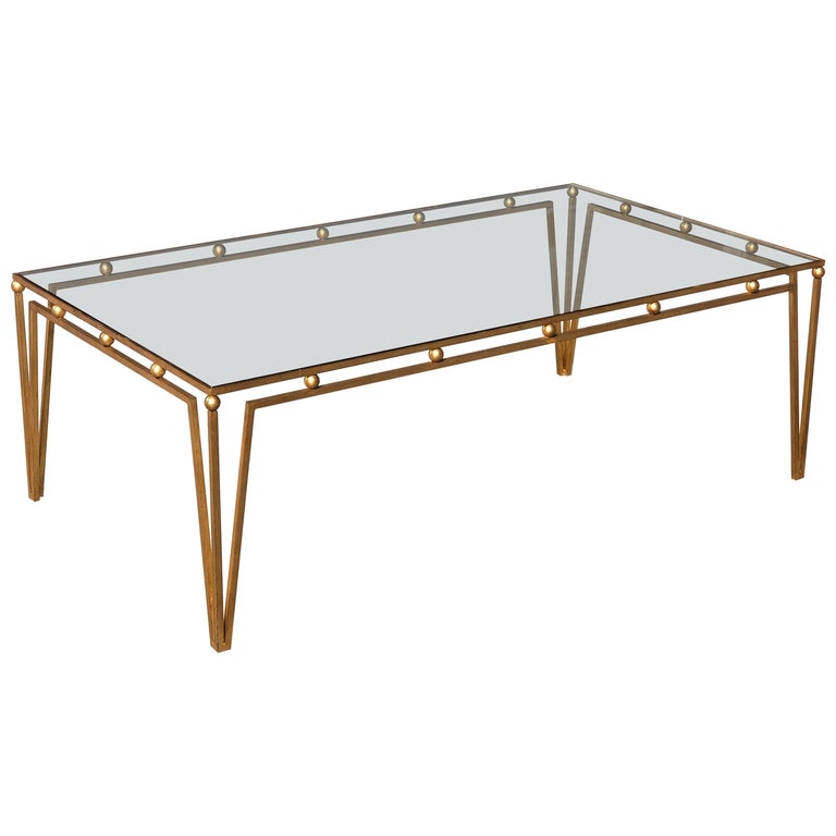 Gilt Iron Coffee Table Manner of Marc du Plantier For Sale