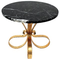 Gilt Iron Coffee Table with Black Marble Top