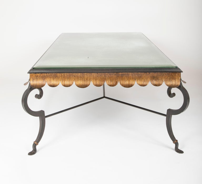 Gilt Iron Coffee Table with Custom Glass Top by Minton Spidell 4