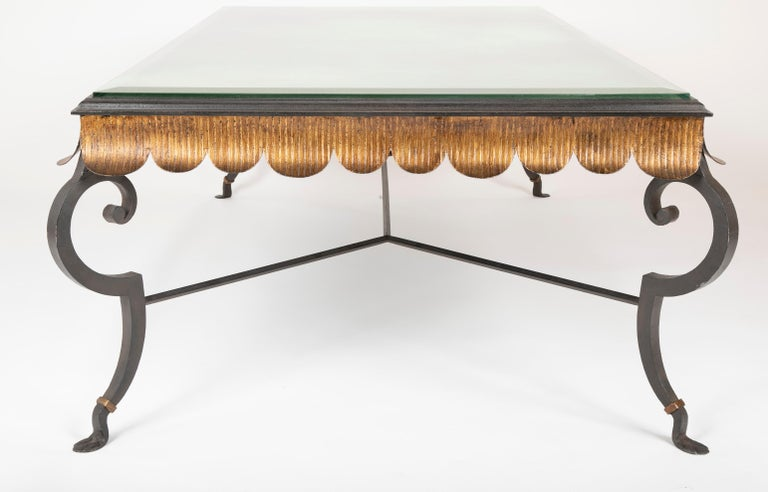 Gilt Iron Coffee Table with Custom Glass Top by Minton Spidell 5