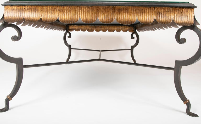 Gilt Iron Coffee Table with Custom Glass Top by Minton Spidell 6