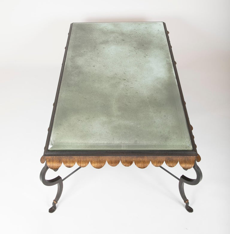 Gilt Iron Coffee Table with Custom Glass Top by Minton Spidell 7