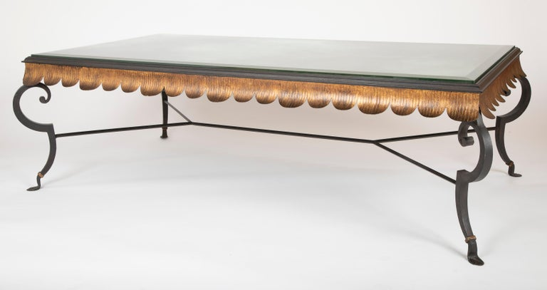 Modern Gilt Iron Coffee Table with Custom Glass Top by Minton Spidell