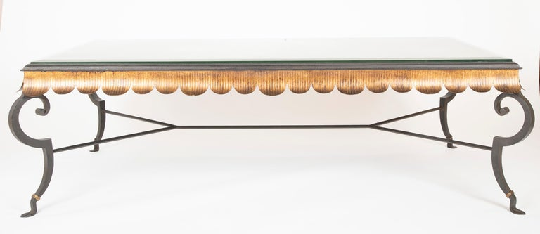 American Gilt Iron Coffee Table with Custom Glass Top by Minton Spidell