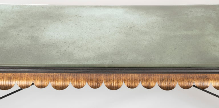 Gilt Iron Coffee Table with Custom Glass Top by Minton Spidell In Good Condition In Stamford, CT