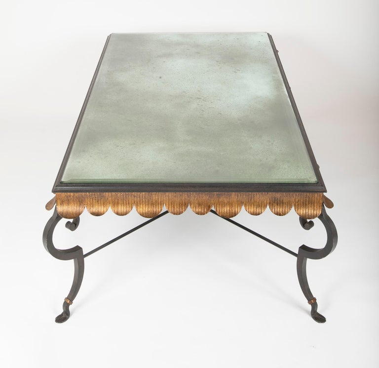 Gilt Iron Coffee Table with Custom Glass Top by Minton Spidell 3